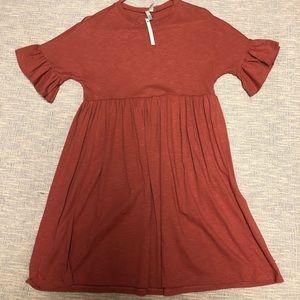 ASOS pink / orange babydoll dress w ruffle sleeves